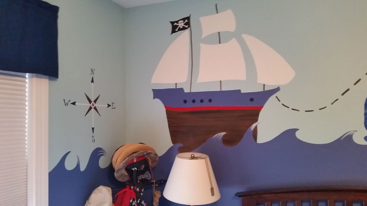 Mural of ship on child's wall