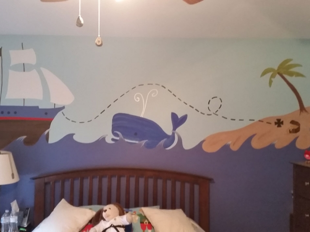 Beach mural on wall